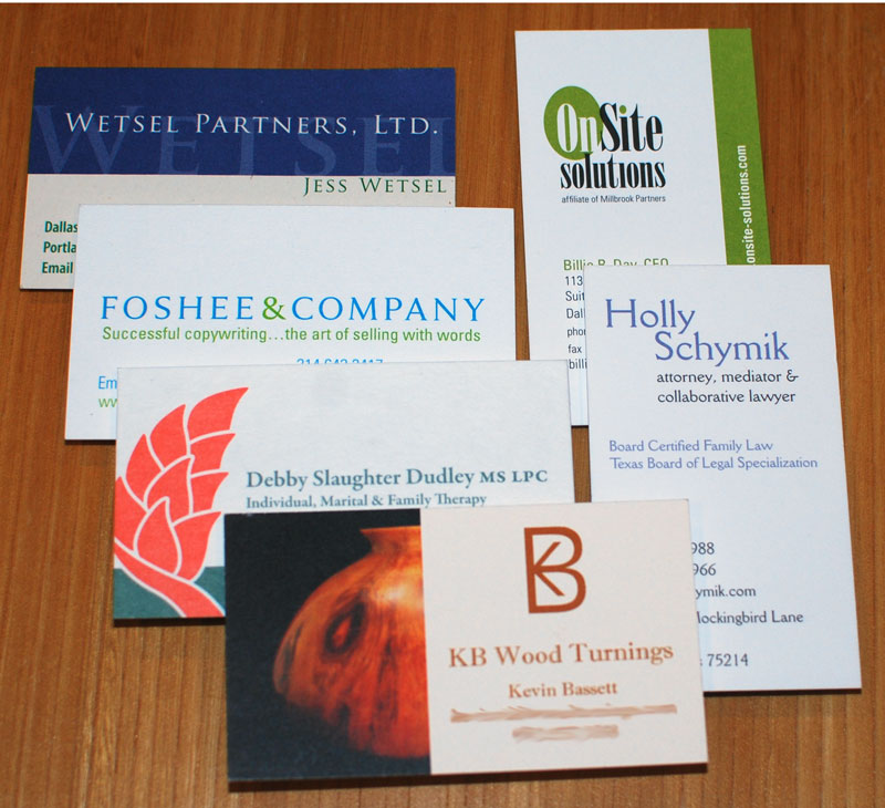 Business cards clients Kim Schlossberg Designs