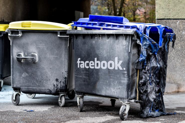 Facebook dumpster fire by Kim Schlossberg Designs